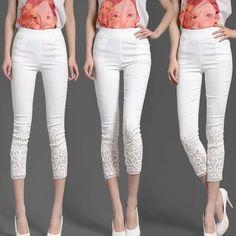 Women Pants Summer 2017 Plus Size 4XL Candy color skinny slim Elastic pencil pants Lace Diamond pants Capris for women