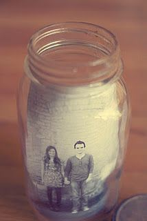 :: DIY mason jar picture frame :: put a flameless candle in behind the picture!