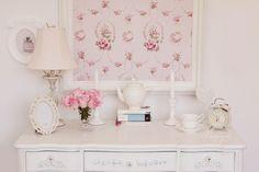 Shabby Chic girly white & pink! vintage dresser & accessories