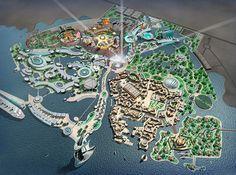 Pearl island - China Urban Design Plan, Park Resorts, Fantasy City, Futuristic City, Parking Design, Historical Images, Master Plan, Birds Eye View, Architecture Plan