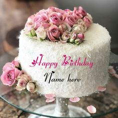 White Forest Flower Decorated Birthday Cake With Name Birthday Cake For Brother, Mother Birthday Cake, Art Birthday Cake, Birthday Cake Write Name, Cartoon Birthday Cake, Birthday Cake Writing, Friends Birthday Cake, Happy Birthday Wishes Cake, Creative Birthday Cakes