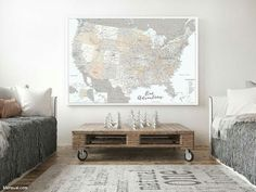 Large And Highly Detailed Usa Map Canvas Push Pin Map With State Capitals Roads Rivers And Many Many Cities This Map Is Truly An Statement Piece