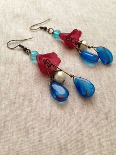 Lily Floral Jewelry Vintage Style Dangles by annieb24 on Etsy