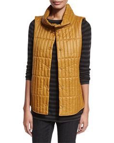 Snap Front Quilted Vest   Neiman Marcus