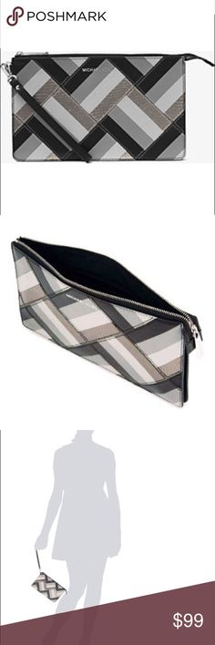 """NEW Michael Micheal Kors Clutch NEW from MICHAEL MICHAEL KORS - Daniela Large Marquetry Patchwork Leather Wristlet Utilizing an artisanal marquetry technique, this compact wristlet features a polished patchwork pattern in a rich mix of hues. Featuring multiple organizational slots, it's the perfect piece for chicly stowing your phone, keys and camera. -Calf Leather  -Rhodium Hardware  -10""""W X 6""""H X 0.75""""D  -Handle 6""""  -Interior: Three Card Holders  -Lining: 100% Polyester MICHAEL Michael…"""