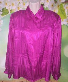 Womens Sz 12 Breckenridge Blouses Magenta Hot Pink Long Sleeve Blouse 90s Style | eBay