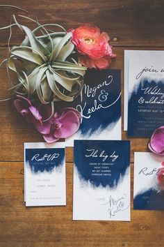 Be bold with your navy wedding theme, using these stunning navy blue watercolour…
