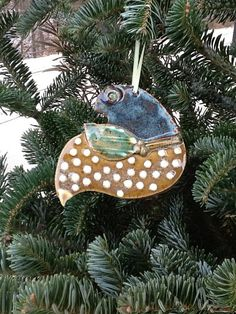 christmas pottery Ornaments | Christmas Holiday Ornament Bird Pottery Handmade