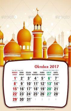 Kalender meja 2017 bergambar masjid kartun lengkap nasional hijriyah