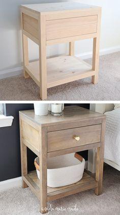 Diy Furniture Table, Diy Furniture Plans Wood Projects, Woodworking Furniture, Wood Furniture, Nightstand Plans, Wood Nightstand, Nightstands, Bedside, Modern Rustic