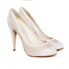 Stylish and elegant brogue vegan stiletto court shoe. Perfect for your ethical wedding.