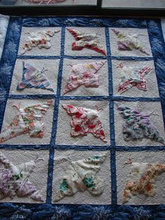 Quilt of butterflies from vintage hankies by annette Antique Quilts, Vintage Quilts, Vintage Sewing, Vintage Linen, Upcycled Vintage, Quilting Tutorials, Quilting Projects, Quilting Designs, Quilting Ideas