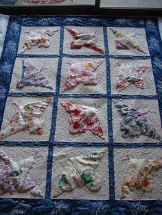 Quilt of butterflies from vintage hankies