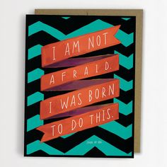 """Joan of Arc """"Born to Do This"""" Inspirational Quote Card Chevron Stripe Emily McDowell on Etsy, $4.50"""