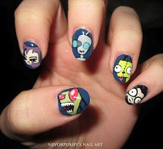 Invader Zim nails from Polish art addiction blog