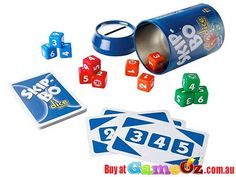 Skip+Bo+Dice+Game  Players:+2-4  Contents:+12+Skip-Bo+Dice,+17+Skip-Bo+Mission+Cards,+and+Instructions.  Quickly+roll+and+re-roll+the+Skip-Bo+dice+to+try+and+match+them+to+the+Skip-Bo+mission+cards.+Match+to+collect+the+card.+The+player+who+collects+5+first+wins+the+game!  Ages:+7+