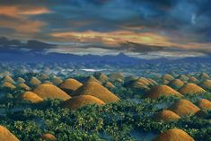 The Chocolate Hills of Bohol Island, Philippines. Visit the tarsiers sanctuary. Cool geological formations, beach, and tarsiers, make this an interesting place to visit and on my bucket list. Beach Vacation Spots, Beautiful Vacation Spots, Beautiful Beaches, Beautiful Waterfalls, Philippines Tourism, Bohol Philippines, Manila Philippines, Chocolate Hills, Giant Chocolate
