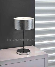 Lampe à poser design en chrome SLIDE, avec abat-jour argenté, Lampe à poser - HcommeHome