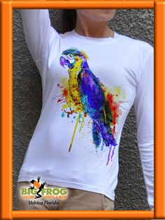 Parrot Cotton Painted Tshirt / White T-Shirt / Handmade by Cotton Painting, Dress Painting, T Shirt Painting, Fabric Painting, Sewing Clothes, Custom Clothes, Diy Clothes, Paint Shirts, Custom T Shirt Printing