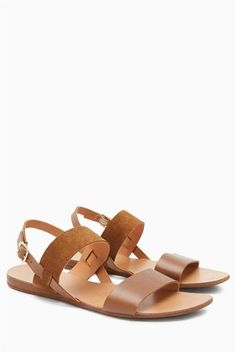 Tan Leather Two Band Slingback Sandals