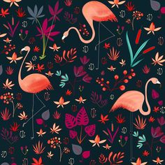 Flamingo pattern I've been enjoying working on #happy #flowers #floral #flamingos #art_we_inspire #art #pattern #illustrationoftheday #surfacepatterndesign #surfacepattern #drawing #design #colour #color #surfacespatterns #picame