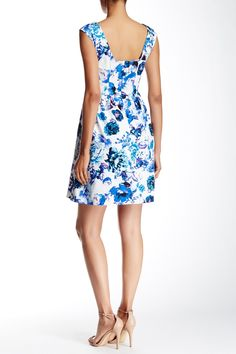 Sleeveless Printed Fit & Flare Dress by Eliza J on @nordstrom_rack