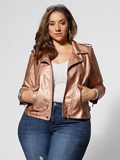6993f387f1a9c Shop Rose Gold Moto Jacket. Find your perfect size online at the best price  at
