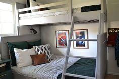 On Monday I shared the Land of Nod inspired twin-over-full bunk bed that I built for the boys. Today I've got a full list of supplies, cut list, and breakdown of the process that I used to bu…