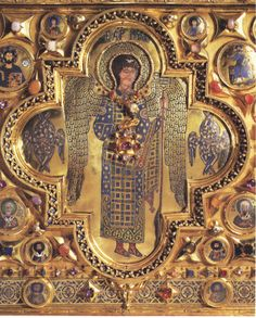 Representación de un arcángel riquisimamente ornado: el horror vacui lo invade todo Arte Bizantino