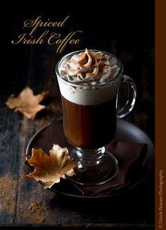 This delicious spiced Irish coffee is made with freshly brewed coffee, sugar and Irish whiskey and is topped with pumpkin spice-flavored whipped cream. It's warm and comforting and invigorating and exciting at the same time. The perfect fall drink! Winter Cocktails, Coffee Cocktails, Alcoholic Coffee Drinks, Irish Cocktails, Whisky Cocktail, Cocktail Drinks, Cocktail Recipes, Drink Recipes, Pina Colada