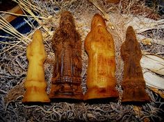 Beeswax Belsnickle Santas-beeswax, angels, ornaments, primitive ornaments, spices, hand poured, handmade, grungy, primitive, prim decor, primitive Christmas, primitive ornaments, angel ornaments, early American, Christmas, primitive holiday decorations, made in the USA