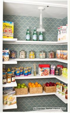 Wall papered pantry! Cute & Fun! Kitchen Workbook: 8 Steps to Surviving a Remodel