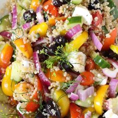 Mediterranean Quinoa Salad a protein packed vegan salad of cucumbers tomatoes olives dairy-free feta coated in olive oil red wine vinegar dressing Broccoli Recipes, Soup Recipes, Whole Food Recipes, Vegan Recipes, Vegan Dinner Roll Recipe, Dinner Rolls Recipe, Mediterranean Quinoa Salad, Mediterranean Recipes, Vegan Zuppa Toscana Recipe