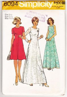 1970s Petite Dress - Evening Gown Women Sewing Pattern Vintage Simplicity 6094 Miss Petites 8mp Bust 31.5 Miss Petite Uncut This listing is for the sewing patterns and instructions to make the miss pe