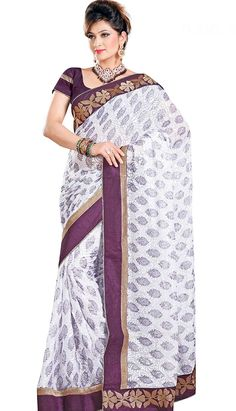 Pavitraa White and Violet Indigo Party Wear Sarees Rs Sarees Online India, Suits Online Shopping, Salwar Suits Online, Embroidery Saree, Casual Saree, Ethnic Dress, Latest Sarees, Bollywood Saree, Party Wear Sarees