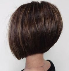 Classy Short Haircuts and Hairstyles for Thick Hair Straight Brunette Bob With Subtle Highlights See it Inverted Bob Hairstyles, Short Hairstyles For Thick Hair, Haircut For Thick Hair, Short Bob Haircuts, Short Hair Cuts, Curly Hair Styles, Medium Hairstyles, Braided Hairstyles, Wedding Hairstyles