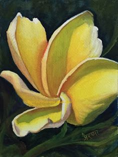 Art by Prerana Kulkarni - Yellow Plumeria - 7x5 inches, Watercolor on Arches paper  Original SOLD. Artprint available on request