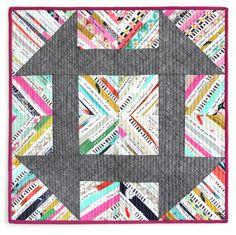Selvage churn dash quilt by Helga Marie Breyfogle: Mini swap quilt at Cotton + Steel