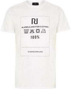 River Island Mens White Ditch the Label charity T-shirt