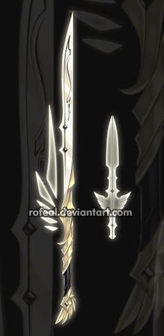 ExtraWeapon by Rofeal on DeviantArt Fantasy Blade, Fantasy Weapons, Fantasy Art, Cool Swords, Sword Design, Anime Weapons, Weapon Concept Art, Cool Items, Character Concept