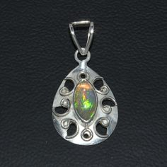 925 STERLING SILVER NATURAL ETHIOPIAN FIRE BLACK OPAL CAB PENDANT JEWELRY 102