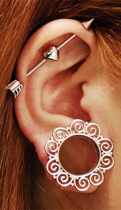 Qupid Red Broken Heart Arrow Industrial Barbell Piercing - www.MyBodiArt.com