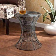 "Metal Accend Table 18,5"" Indoor / Outdoor Home Garden Furniture Portable Silver #1"