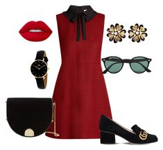 """Red"" by lightthewhim on Polyvore featuring RED Valentino, Ted Baker, Ray-Ban, Gucci, Daniel Wellington and Chanel"