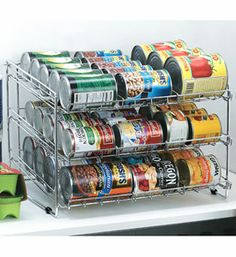 The Chrome Wire Can Storage Rack will help organize canned goods in your panty or kitchen cabinet. This handy can organizer is made from thick steel wire with a polished chrome finish provides three tiers of storage space for cans and is designed so the shelves are angled so that allow the next can in line gently rolls