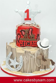 """1st cowboy cake with everything a cowboy needs to make it on the range."""