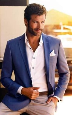 Shop this look on Lookastic:  https://lookastic.com/men/looks/blazer-dress-shirt-chinos-pocket-square-belt/12647  — White Dress Shirt  — White Pocket Square  — Blue Blazer  — Brown Leather Belt  — Beige Chinos
