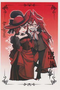Black Butler ~~~ Grell and Madame Red Black Butler Grell, Black Butler Kuroshitsuji, Ciel Phantomhive, Black Butler Characters, Anime Characters, Madame Red, Shinigami, Animes Wallpapers, Thing 1