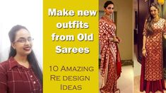 New outfits from old saris Indian Designer Outfits, Indian Outfits, Stitching Dresses, Sari Dress, Neue Outfits, Reuse, Upcycle, Old Dresses, Shirt Refashion
