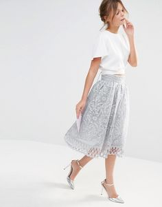 Image 1 of Chi Chi London Premium Lace Skirt with Cutwork Detail